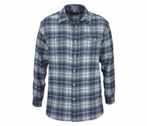 Flanellhemd blue denim / weiß