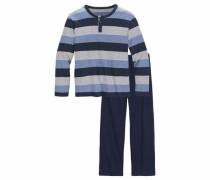 Pyjama lang blau / graumeliert