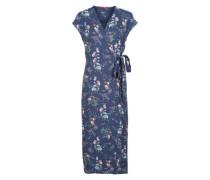 Wickelkleid mit Blumenmuster blau / mischfarben