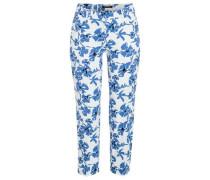Hose mit Flower-Print 'Hedy' himmelblau / schwarz / weiß