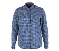 Gemusterte Bluse aus Batist blau / weiß