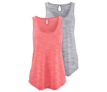 T-Shirts (2 Stck.) grau / orange