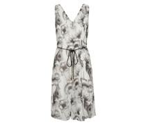 Ärmelloses Kleid grau / weiß
