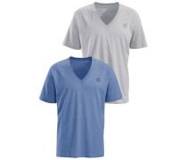 T-Shirts (2 Stück) mit V-Ausschnitt blau / grau