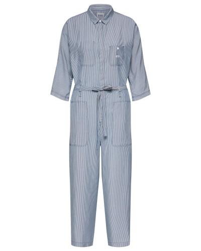 Overall 'wide LEG Jumpsuit' blau / weiß