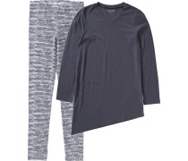 Schlafanzug für Mädchen dunkelgrau