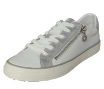 Metallic Sneaker mit Zipper weiß