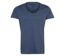 T-Shirt mit V-Neck blau