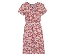 Kurzarm-Kleid mit Print beige / rot
