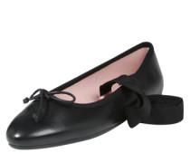 Ballerina mit Schleifen-Applikation und Schnürung schwarz