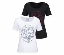 Rundhalsshirt (Packung 1 tlg. 2er-Pack) dunkelblau / dunkelpink / schwarz / weiß