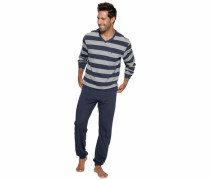 Seidensticker Pyjama lang blau / grau