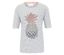 Gestreiftes T-Shirt 'CorinnaL' mit Print navy / mischfarben / weiß