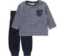 Baby Schlafanzug für Jungen dunkelblau / weiß