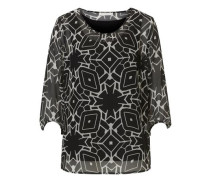 Grafische Bluse mit 3/4 Arm schwarz / weiß