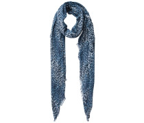 Leopardendruck-Schal blau