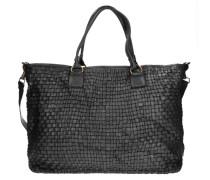 Borchie Con Fiore Shopper Tasche Leder 43 cm schwarz