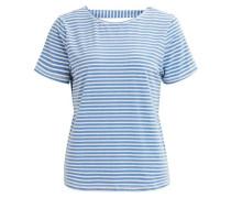Rückendetail-T-Shirt 'objlana' rauchblau / weiß