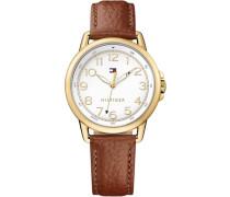 Armbanduhr »Casual Sport 1781654« braun / gold / weiß