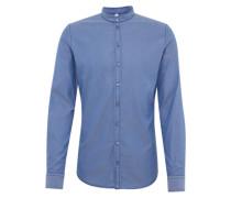 Slim fit Hemd mit Stehkragen dunkelblau