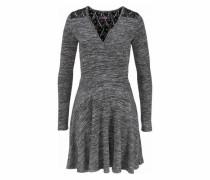 Jerseykleid 'essential Twist' graumeliert / schwarz