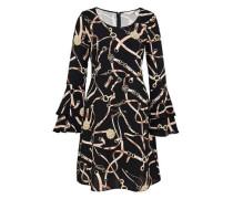 Kleid mit Kettendruck und Volant-Ärmeln beige / schwarz