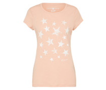 T-Shirt 'fitted' rosé / weiß
