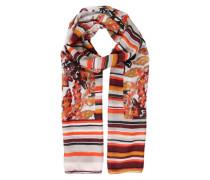 Leichter Schal mit Muster-Print mischfarben / orange