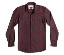 Langarm-Hemd »Motherfly Flannel« grau / rot