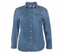 Jeansbluse 'Knöpfe in Perlmuttoptik' dunkelblau