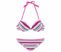 Push-up-Bikini grau / pink / weinrot
