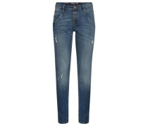 Relaxed Tapered Jeans mit Destroys blue denim