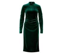 Maxi-Samtkleid mit Raffungen dunkelgrün