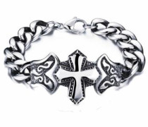 Edelstahlarmband »Kreuz« grau