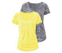 V-Shirt (2 Stück) gelb / dunkelgrau