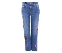 Mom-Jeans mit Oil-on-Denim Print