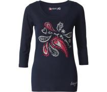 3/4-Arm-Shirt dunkelblau / hellrot / silber