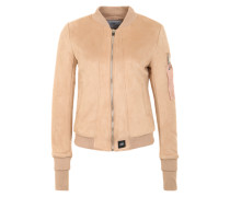 Bomberjacke in Veloursleder-Optik beige