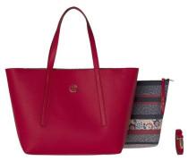 Handtasche 'tommy BAG IN BAG Floral Stripe' dunkelrot