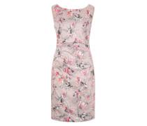 Kleid mit Faltenpartie hellgrau / altrosa