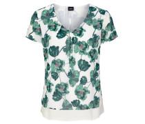 Bluse weiß / grün / pink