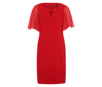 Gefüttertes Kleid mit Ziersteinen rot