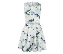 Tailliertes Kleid mit Print grau / grün / mischfarben