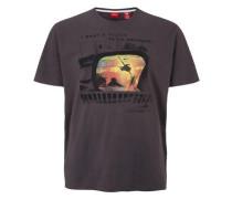 T-Shirt mit abstraktem Print grau
