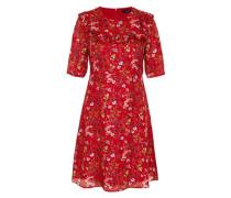 Seidenkleid mit Volant und Streublumendruck rot