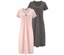 Lange Nachthemden (2 Stück) mit Kräuselsäumen dunkelgrau / puder