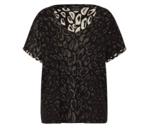 T-Shirt 'allover printed' creme / schwarz