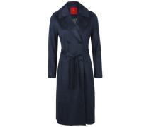 Mantel in Veloursleder-Optik blau