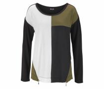Blusenshirt khaki / schwarz / weiß