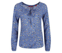 Luftige Bluse mit Multiprint blau